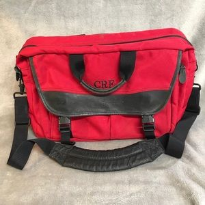 L.L. Bean Red Canvas Leather Briefcase Messenger